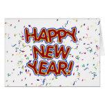 Happy New Year Cartoon Text w/Confetti Cards