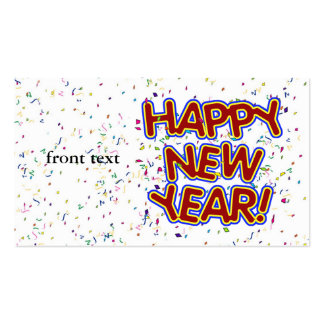 Happy New Year Cartoon Text w/Confetti Double-Sided Standard Business Cards (Pack Of 100)
