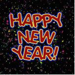 Happy New Year Cartoon Text w/Confetti Photo Sculpture