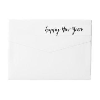 Happy New Year Casual Black Handwritten Script Wrap Around Label