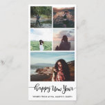 """Happy New Year Casual Script Five Photo Collage Holiday Card<br><div class=""""desc"""">Happy New Year Typography Five Photo Collage</div>"""