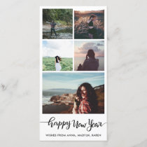 Happy New Year Casual Script Five Photo Collage Holiday Card