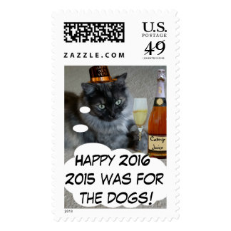 Happy New Year (cat) Postage Stamp by RoseWrites