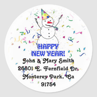 HAPPY NEW YEAR! Celebrating Snowman Classic Round Sticker