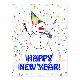 HAPPY NEW YEAR! Celebrating Snowman Post Cards