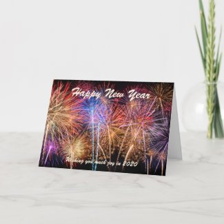 Happy New Year Celebration Fireworks Greetings Card