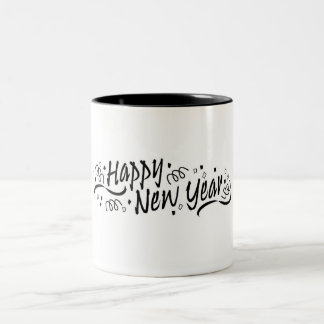Happy New Year Celebration Two-Tone Coffee Mug