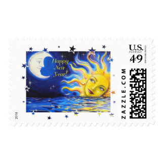 Happy New Year Celestial Sun and Moon Face Stamps