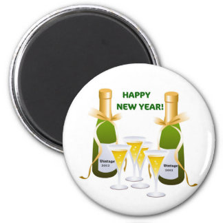 HAPPY NEW YEAR CHAMPAGNE CELEBRATION PRINT 2 INCH ROUND MAGNET