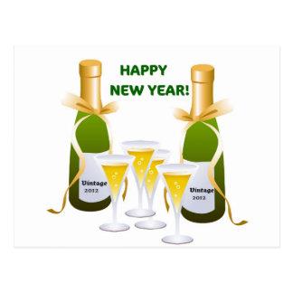 HAPPY NEW YEAR CHAMPAGNE CELEBRATION PRINT POSTCARD