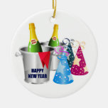 Happy New Year Champagne Christmas Ornaments