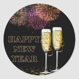 Happy new Year - Champagne Classic Round Sticker