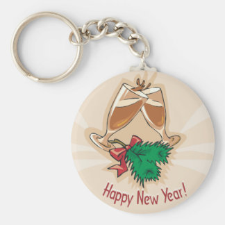 Happy New Year Champagne Clink Basic Round Button Keychain