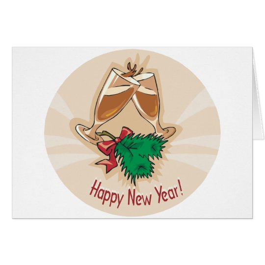Happy New Year Champagne Clink Card