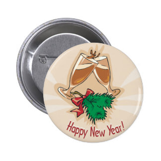 Happy New Year Champagne Clink Pinback Button