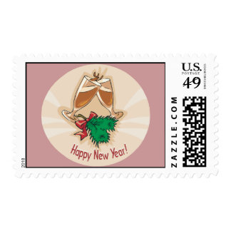 Happy New Year Champagne Clink Postage Stamps