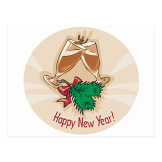Happy New Year Champagne Clink Postcard