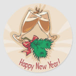 Happy New Year Champagne Clink Classic Round Sticker
