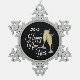 Happy New Year, Champagne & Confetti Snowflake Pewter Christmas Ornament