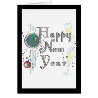 Happy New Year - Champagne Glasses and Clock Greeting Card