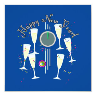 happy new year champagne glasses and clock invitation