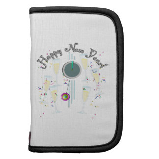Happy New Year - Champagne Glasses and Clock Folio Planner