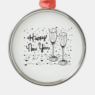 Happy New Year Champagne Glasses Ornament