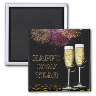 Happy new Year - Champagne Refrigerator Magnet