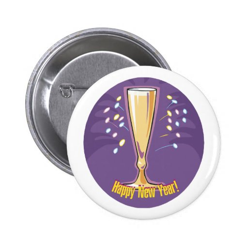 Happy New Year Champagne Pinback Button