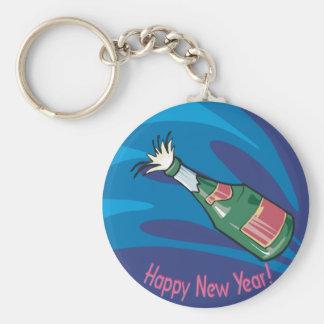Happy New Year Champagne Pop Basic Round Button Keychain