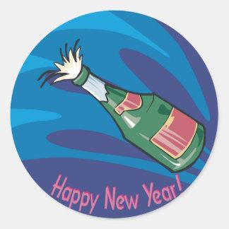 Happy New Year Champagne Pop Classic Round Sticker