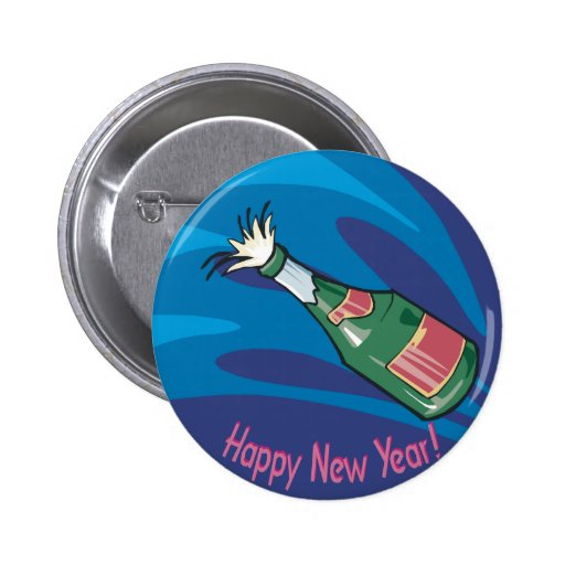 Happy New Year Champagne Pop Pinback Buttons