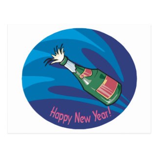 Happy New Year Champagne Pop Postcard
