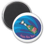 Happy New Year Champagne Pop Refrigerator Magnet