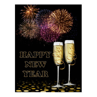 Happy new Year - Champagne Postcard