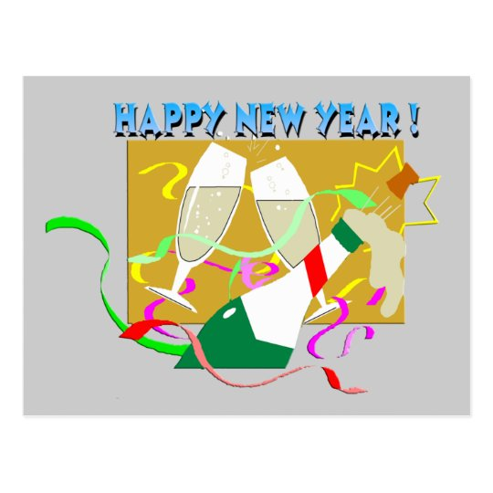 Happy New Year Champagne Postcard