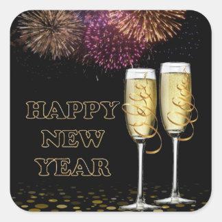 Happy new Year - Champagne Square Sticker