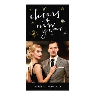 Happy New Year Cheers Starburst Holiday Photo Card