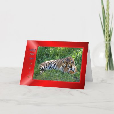 Happy Chinese New Year card with a tiger in traditional red and gold colors. 2010