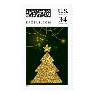 Happy New Year Christmas Green Holiday Postage