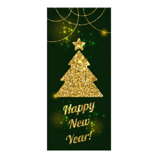 Happy New Year Christmas Green Holiday Rack Card
