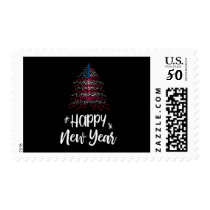 Happy New Year Christmas tree with American flag Postage