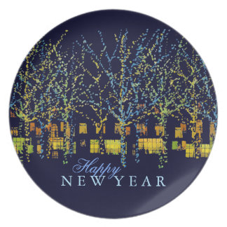 Happy New Year City Lights Dinner Plate