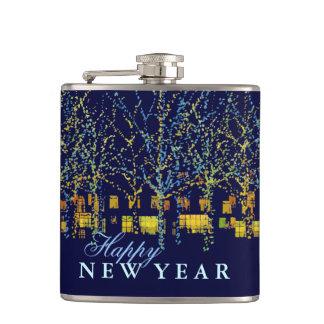 Happy New Year City Lights Flasks