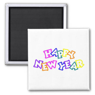 Happy New Year Color 2 Inch Square Magnet