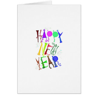 Happy New Year Color 3 Greeting Card