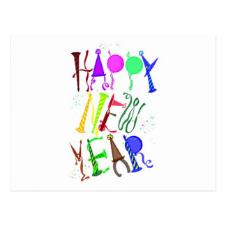 Happy New Year Color 3 Postcard