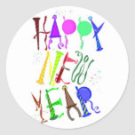 Happy New Year Color 3 Round Sticker