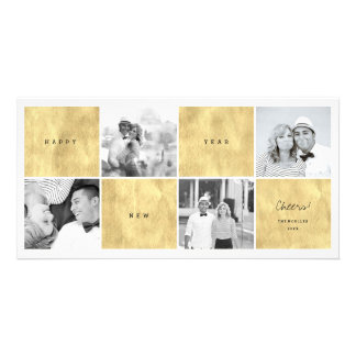 Happy New Year Color Blocks Photo Collage Greeting Photo Card
