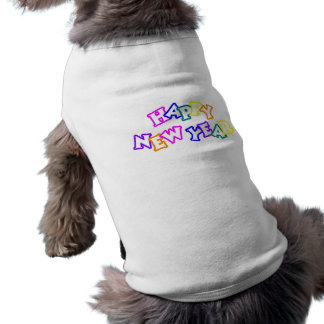 Happy New Year Color Dog Tee Shirt